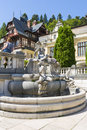 Peles castle garden statuary group in on july in sinaia romania was declared museum in and is the most visited in Stock Photography