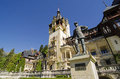 Peles castle king carol i statue in front of romania Stock Photography