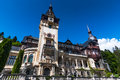 Peles castle romania was built as romanian kingdom summer residence in gothic style with german neo renaissance facade the is on Royalty Free Stock Images