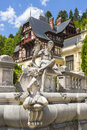 Peles castle sinaia romania allegoric statuary group of a fountain in garden is the most visited museum in Stock Photos