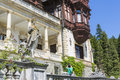 Peles castle sinaia romania architectural detail of facade with balcony columns and statues on july in was declared Stock Photography