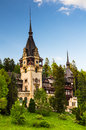 Peles castle in sinaia romania built by king carol i as summer residence gothic style with german neo renaissance facade after Royalty Free Stock Photo