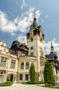 Peles castle in sinaia romania it is a neo renaissance in the carpathian mountains on an existing medieval route linking Stock Photo