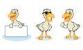Pelican mascot vector happy pose and bring board Stock Photo