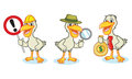 Pelican mascot vector with money sign magnifying glass Royalty Free Stock Photography
