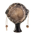 Pellet drum a drums or rattle drums isolated ove white this traditional instrument comes from africa Stock Photo