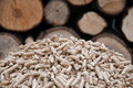 Pelllets biomass oak pellets infront wooden wall Stock Images