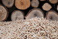 Pelllets biomass pellets selective focus on the heap Royalty Free Stock Images