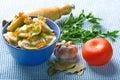 Pelmeni and garlic and bay leaf Royalty Free Stock Photo