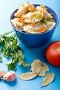 Pelmeni with garlic and bay leaf close up Royalty Free Stock Photo