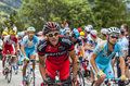 The peloton on alpe d huez france july climbing difficult road to during stage of edition of le tour de Royalty Free Stock Photos