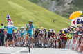 The peloton on col du lautaret france july arrives in hautes alpes during stage of le tour de france Royalty Free Stock Photo