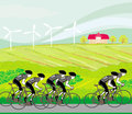 Peloton cycling cyclists illustration Stock Photo