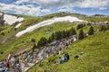 The Peloton in Mountains Royalty Free Stock Photo