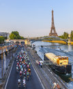 The peloton in paris france july st riding on seine riverside near eiffel tower during last stage of th edition of le Stock Photography