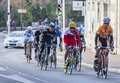 The peloton paris nice in nemours france march image of riding fastly during first stage of famous road bicycle race Stock Photography