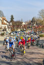The peloton paris nice in nemours saint pierre lès france march image of riding fastly during first stage of famous road bicycle Royalty Free Stock Photo