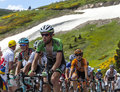 The peloton in pyrenees col de pailheres france july climbing road to col de pailheres mountains during stage of Stock Images