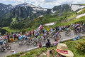 The peloton in pyrenees col de pailheres france july climbing road to col de pailheres mountains during stage of Royalty Free Stock Photography