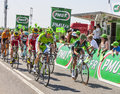 The peloton saint aoustrille france july thomas voeckler europcar team and moreno moser cannondale team in front of a delayed at Stock Photo