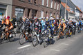 Peloton tour flanders passing rekkem village tour year Royalty Free Stock Photo