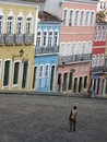 Pelourinho old neighborhood salvador bahia brazil image of michael jackson s balcony video in center light blue house Stock Photo