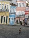 Pelourinho old neighborhood salvador bahia brazil image of michael jackson s balcony video in center light blue house Stock Photo