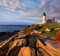 Pemaquid point lighthouse the classic overlooking the atlantic ocean on a beautiful new england morning bristol maine usa Stock Photography