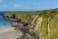 Pembrokeshire coast path caerfai wales uk near from bay to st non s bay in the national park towards ramsey island follows Royalty Free Stock Photo