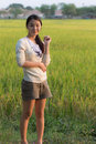 Pen arms little happy girl meadow rice field track thailand Royalty Free Stock Image