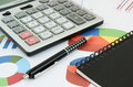 Pen and calculator and notebook Royalty Free Stock Photo