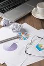 Pen on chart paper on work desk