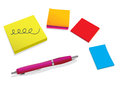Pen and color stickies Stock Images