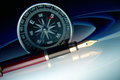 Pen with compass Royalty Free Stock Photo