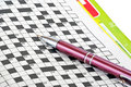 Pen and crossword Royalty Free Stock Photo