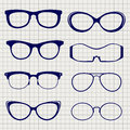 Pen eyeglasses collection on notebook page
