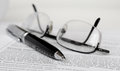 Pen and glasses Royalty Free Stock Image