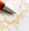 Pen on Graph Stock Image
