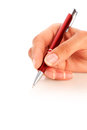Pen in hand over white Royalty Free Stock Images