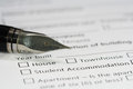 Pen on housing document paper close up Royalty Free Stock Image