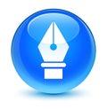 Pen icon glassy cyan blue round button Royalty Free Stock Photo
