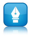 Pen icon special cyan blue square button Royalty Free Stock Photo