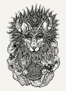 Pen and ink illustration of Indian fox holding Mayan calendar Royalty Free Stock Photo