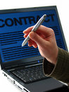 Pen, laptop, contract Stock Images
