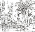 Pen line drawing of architecture condominium Stock Photo