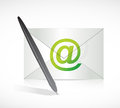 Pen and mail illustration design over white Stock Photo