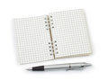 Pen and note pad on white background Stock Photo