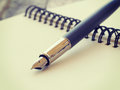 Pen and notebook old retro vintage style Stock Photography