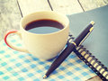 Pen and notebook old retro vintage style Royalty Free Stock Image