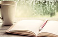Pen on open notebook and coffee cup Royalty Free Stock Photo